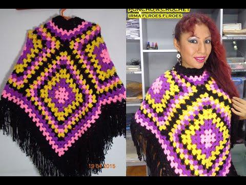 como hacer un poncho con pastillas cuadradas tejida a crochet paso a paso youtube. Black Bedroom Furniture Sets. Home Design Ideas