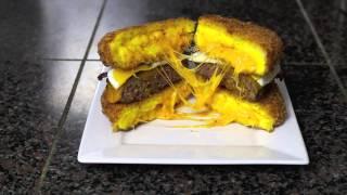The Deep Fried Scrambled Egg Bun Burger