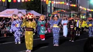 山形花笠まつり 2015/8/5 渡辺えりと花笠を踊ろう会(三浦友加さん、ロ...