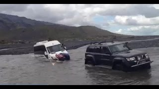 Sprinter 4x4 Bus Stuck in the river. Iceland.