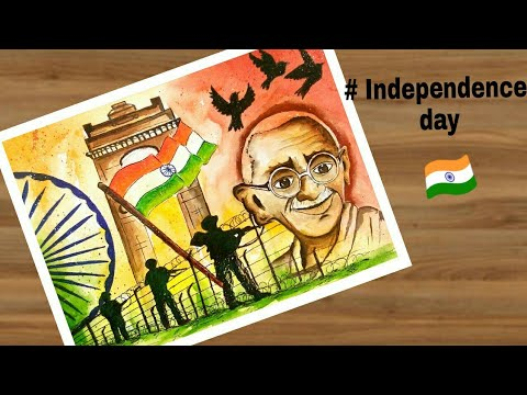 How To Draw Independence Day Painting Step By Step For Beginners Youtube