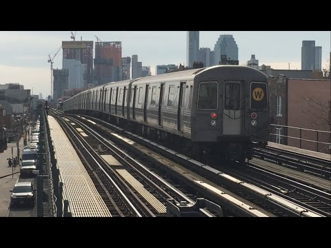 BMT Astoria Line: (N) and (W) Local/ Express train action @ Broadway (R68/A, R160)