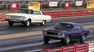 Rare 428 Cobra Jet Mustang vs Impala SS 409 / 425 HP - 1/4 Mile Drag Race - Road Test TV ®