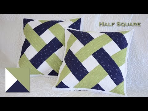 """Patchwork Half Square 4,5"""" Fast sewing. Fast and mirror. Intertwined stripes."""