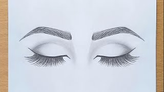 How to draw Cl๐sed Eyes for beginners.... step by step
