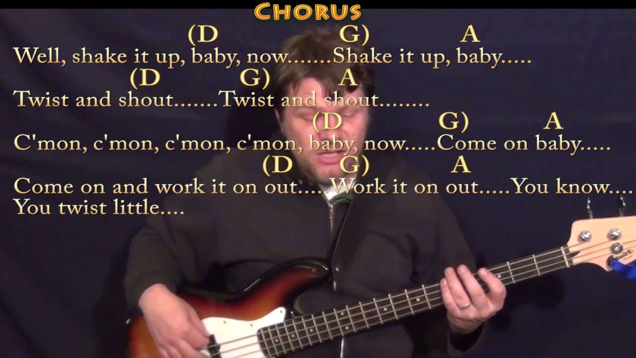 Twist And Shout The Beatles Bass Guitar Lesson Chord Chart With