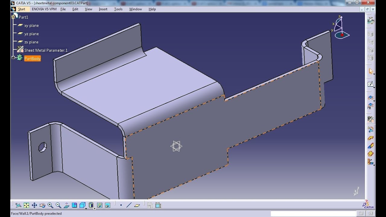 Catia V5 Tutorial Flanged Hole Stamp Sheetmetal Workbench Youtube
