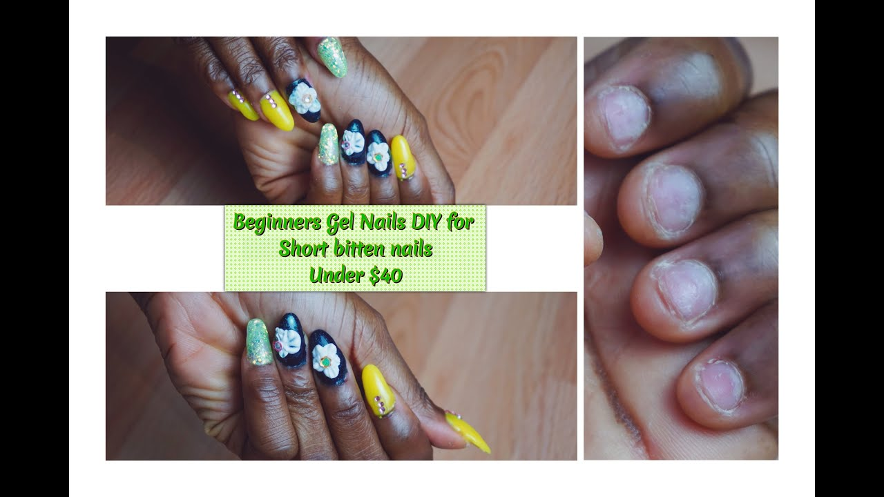 Diy Beginners Gel Nails 3d Nail Art For Short Bitten Nails Under
