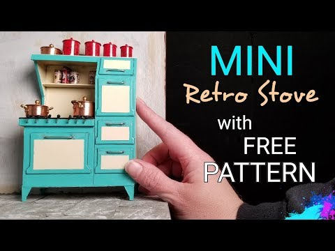 Miniature Dollhouse Retro Stove with Free Downloadable Pattern