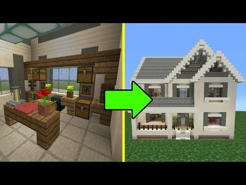 Minecraft Tutorial: How To Make A Suburban House - 10 Inside/Outside