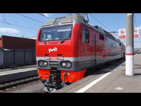 ЭП2К-369 с пассажирским поездом Москва - Балаково отправляется с Павелецкого вокзала.