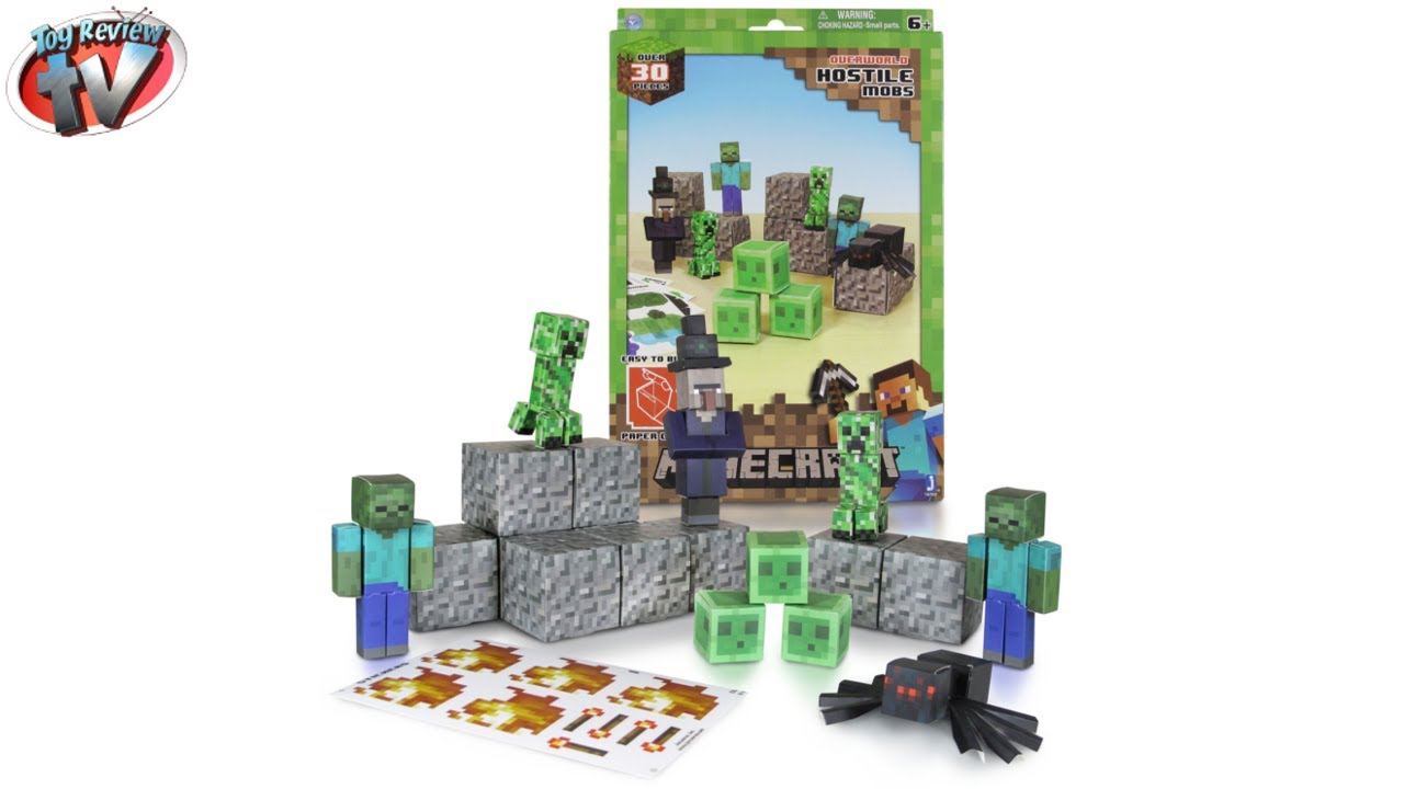 Papercraft Minecraft: Overworld Hostile Mobs Pack Papercraft Toy Review, Jazwares