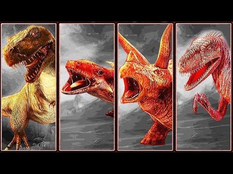 Dino Fight: T-Rex Vs. Ankylosaurus Vs. Triceratops Vs. Velociraptor | Eftsei Gaming