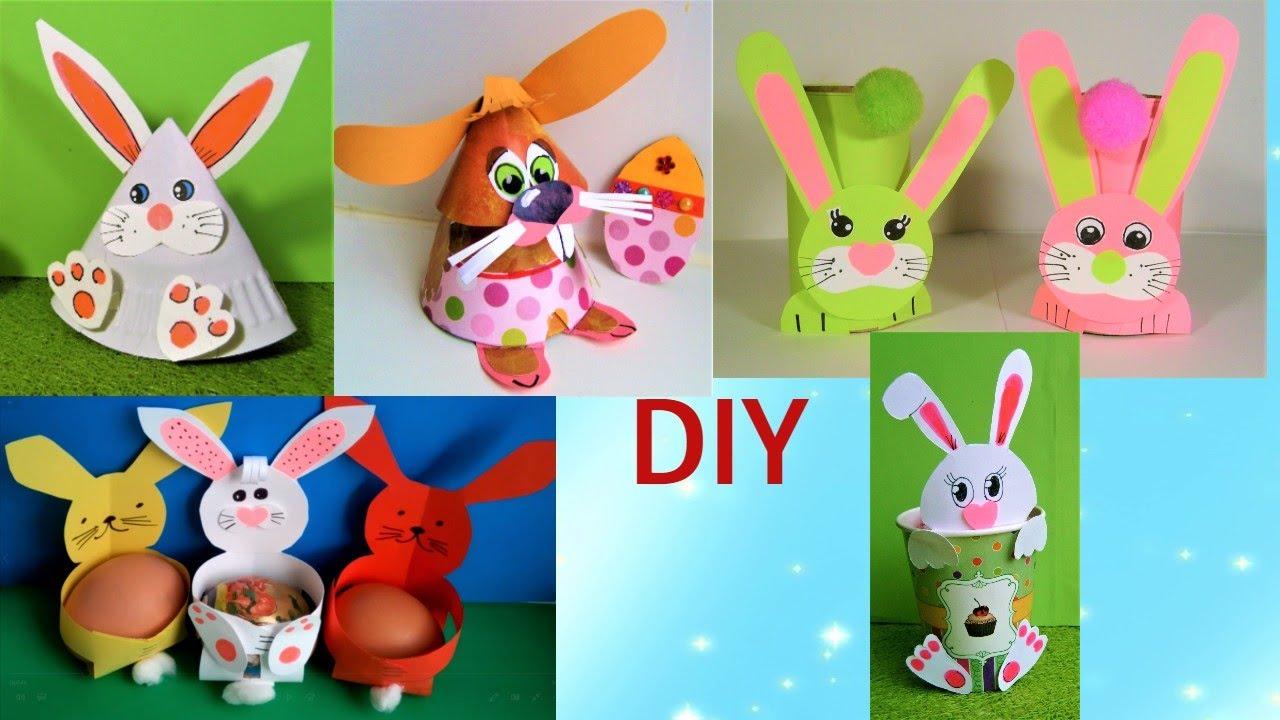 DIY 6 супер простых поделок зайчиков, пасхальных кроликов.