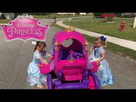 Disney Princess Carriage Ride On Toy Power Wheels Car Brooke And Azlynn Show