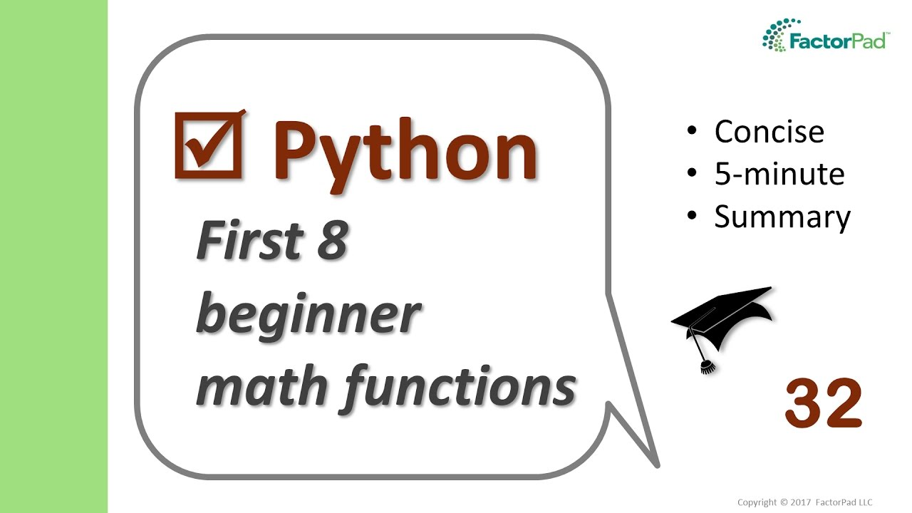 The first 8 math functions for Python beginners - YouTube