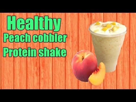 Healthy peach cobbler protein shake