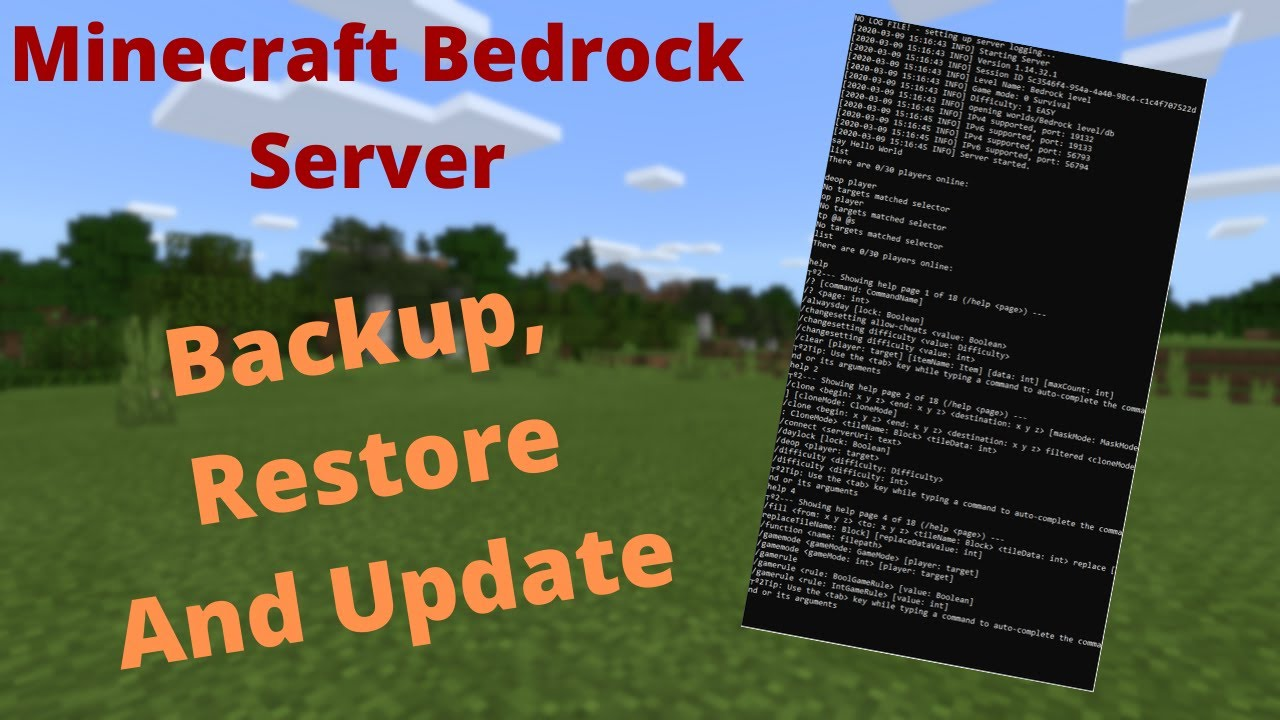 How To Backup Restore And/Or Update Your Minecraft Bedrock