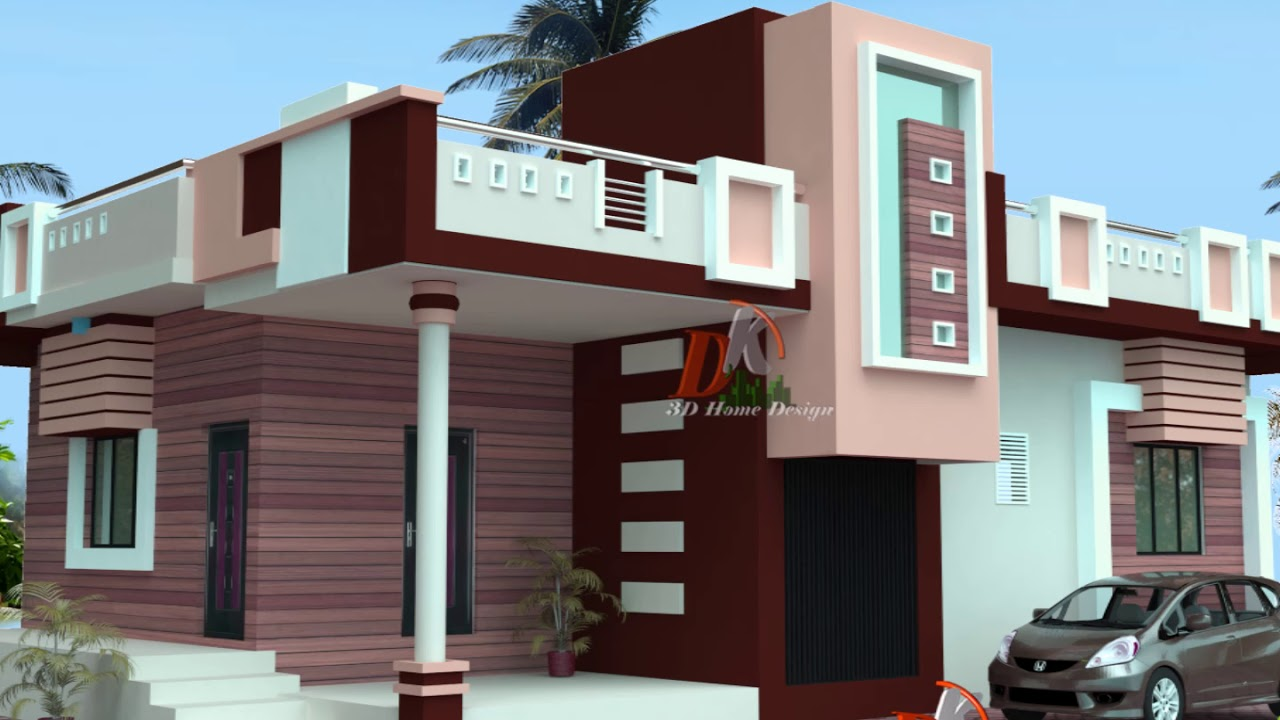 Single story house plan in village