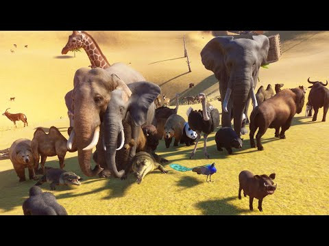 100 животных в 1 аморальном вольере - Planet Zoo