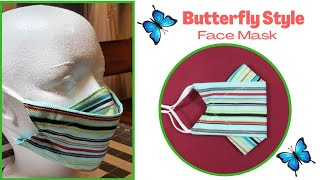 Easy Step Butterfly Style Face Mask 3 Layers Of Fabrics Breathable Mask