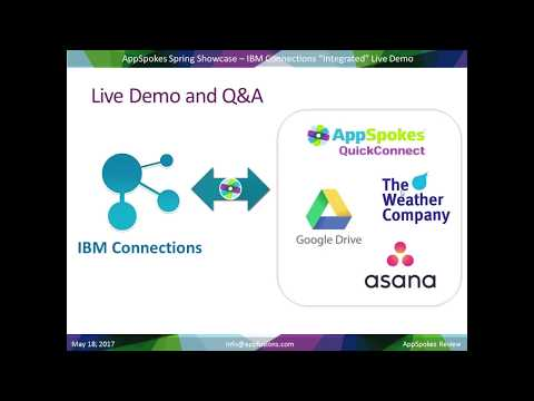 AppSpokes QuickConnect, Asana, Google Drive, The Weather Company in IBM Connections - LIVE DEMOS