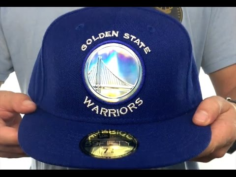 brand new e393b cce64 Warriors  IRIDESCENT HOLOGRAM  Royal Fitted Hat by New Era