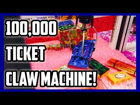 100,000 TICKET CLAW MACHINE!!! HOW MANY CAN I WIN??? (ClawBoss Funplex Arcade Claw Machine Wins)