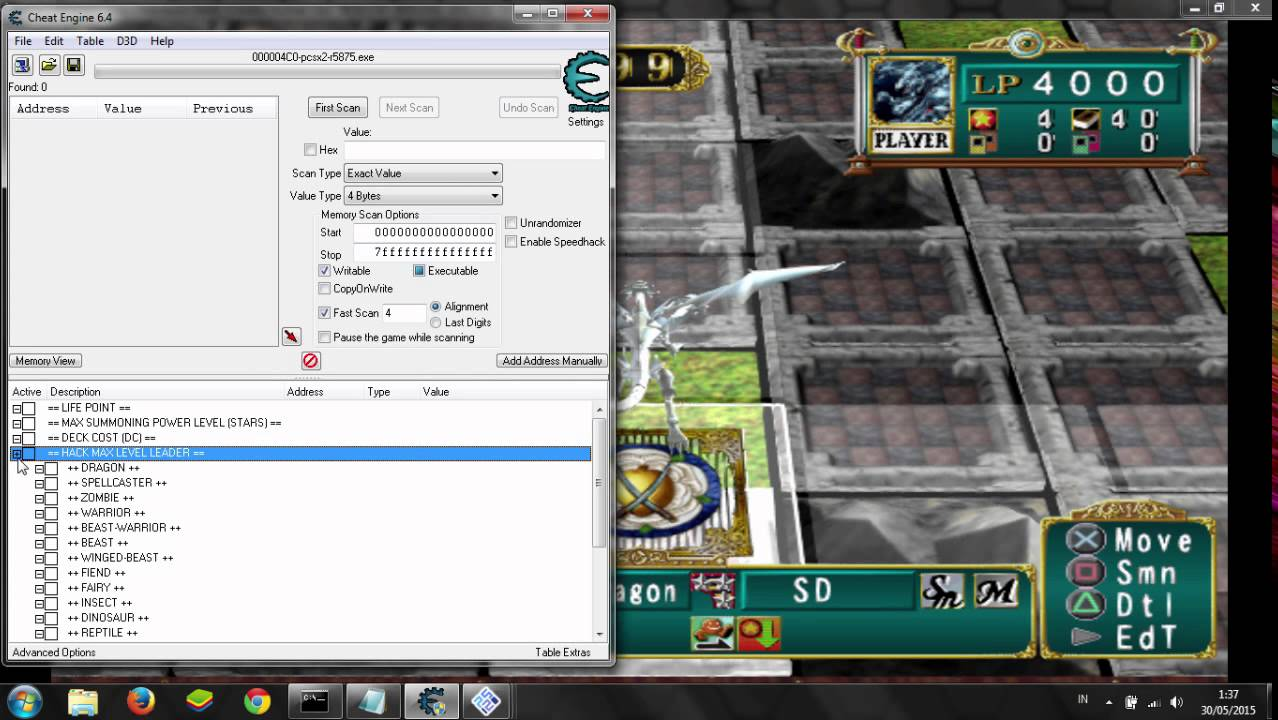 Yu-gi-oh duelist of the roses cheats wont work.