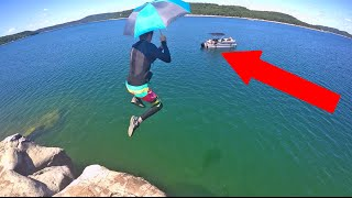 CLIFF JUMPING WITH AN UMBRELLA!