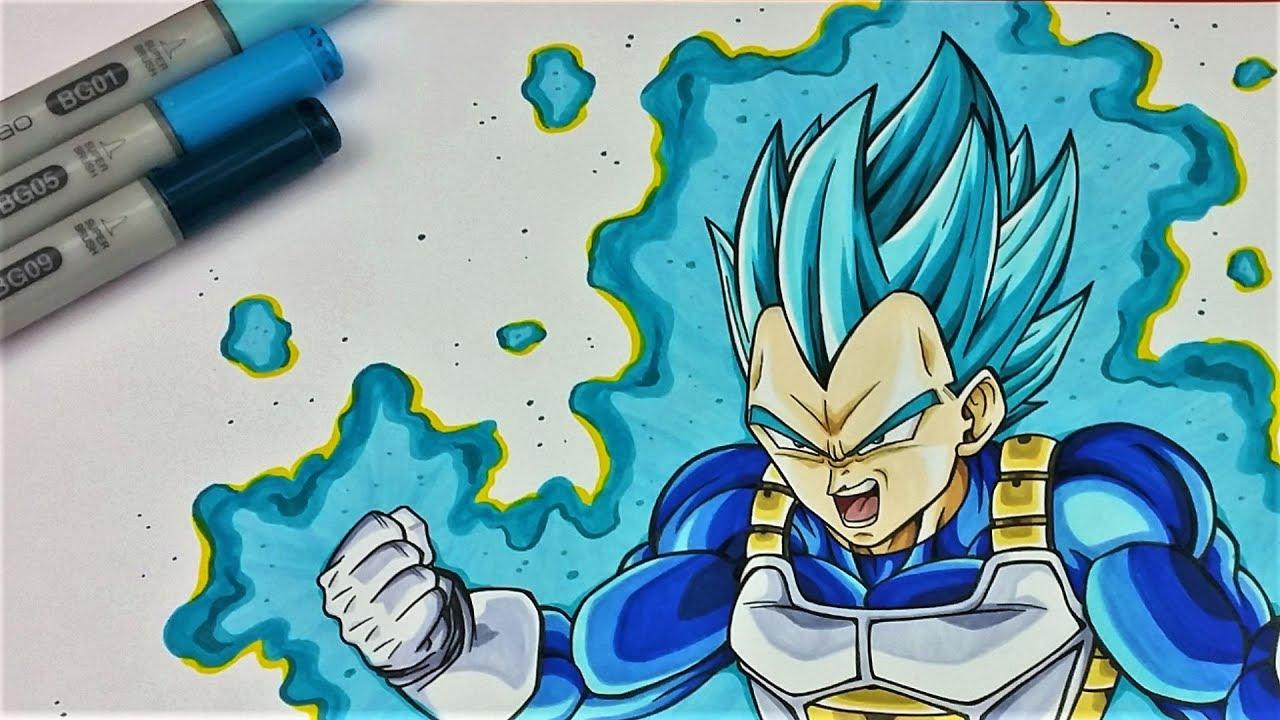 Drawing Tutorial: Coloring Vegeta Super Saiyan Blue
