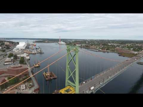 4 K - Bridges over Halifax Harbour. Scotia Droning