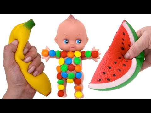 Thumbnail: Learn Colors M&M Chocolate Baby Doll Feeding & Bath Time with Nursery Rhymes