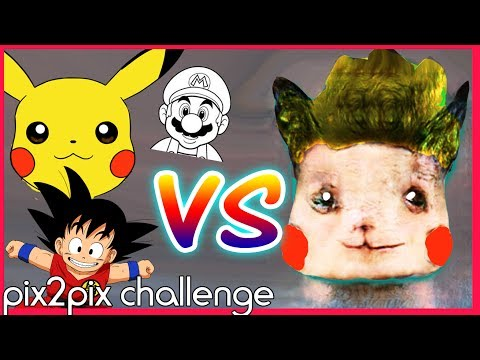 ARTIST Vs. PIX2PIX CHALLENGE - Drawing Anime & Game Characters