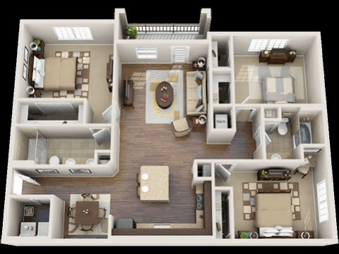 3 bedroom apartments youtube for 3d apartment design
