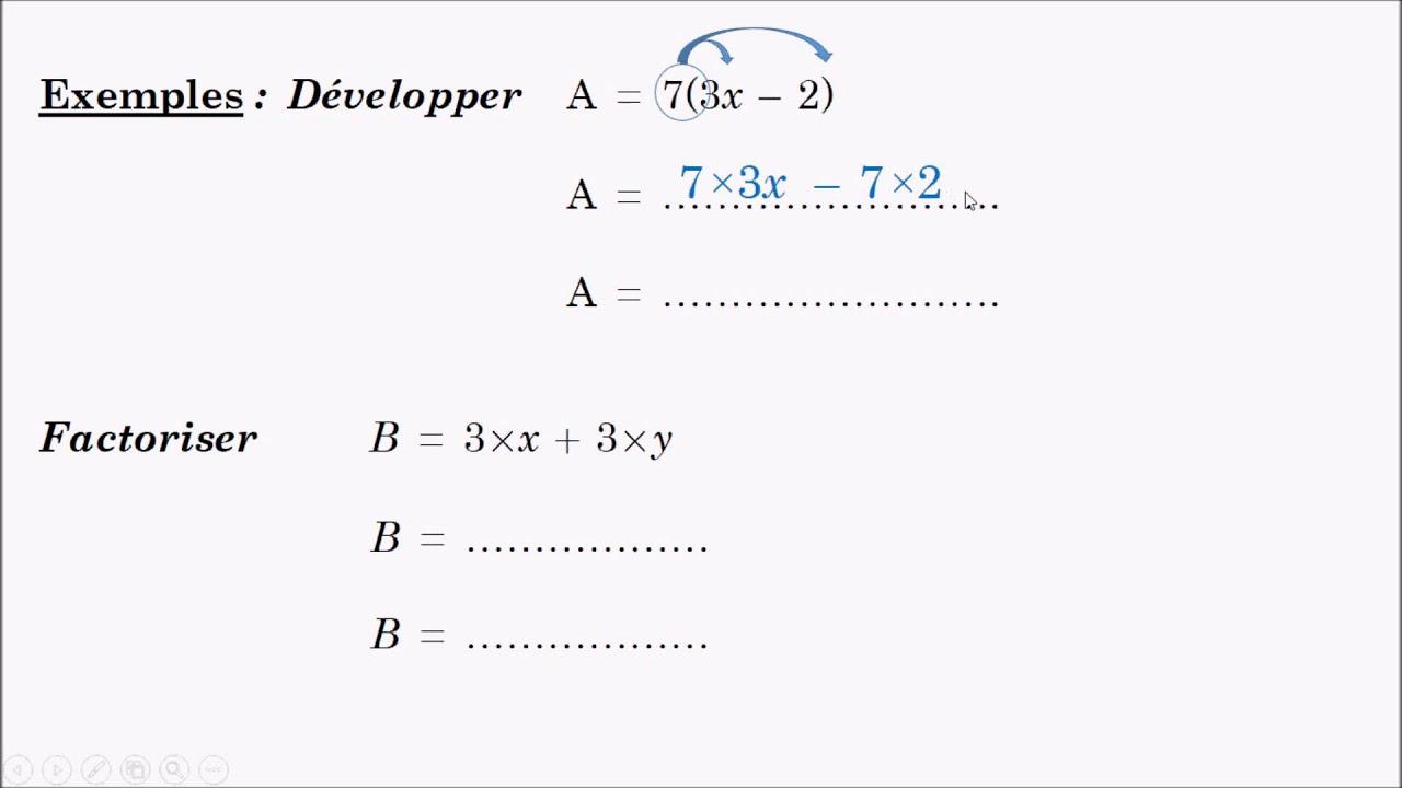 Niveau 5 ème : CL3 - Développer et factoriser - YouTube