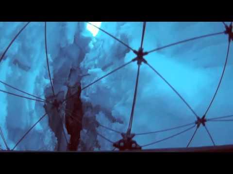 Drone flies in crevasse