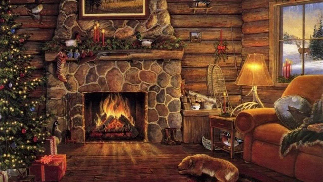 Cozy christmas cabin winter cottage fireplace soundscape for Stili di log cabin