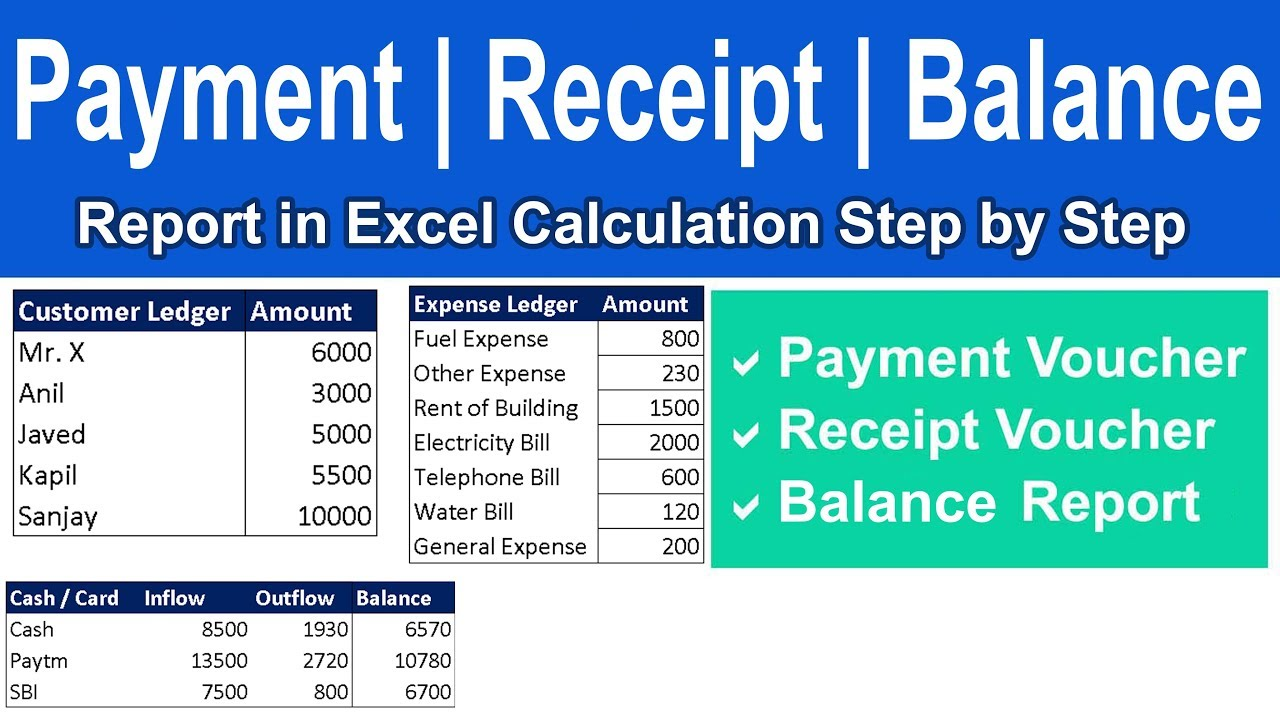 how to create payment receipt report in excel step by step youtube