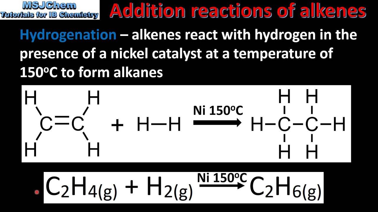 reaction of alkane alkene alkyne