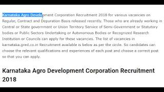 Karnataka Agro Development Corporation Recruitment 2018 | Notification | Syllabus