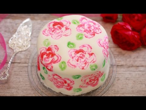Celery Stamp Rose Painted Cake - Gemma's Bigger Bolder Baking Ep. 122
