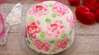 Celery Stamp Rose Painted Cake - Gemma's Bigger Bolder Baking Ep. 122
