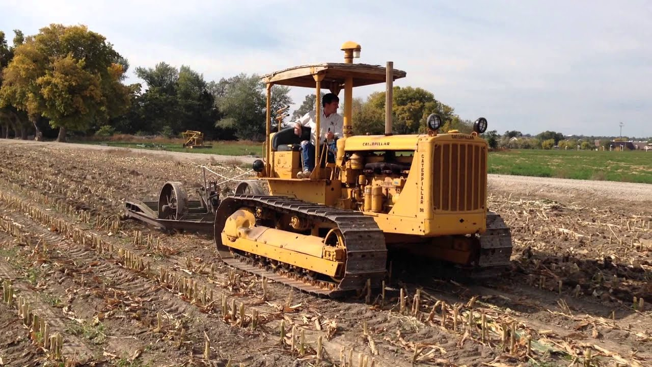 Old Antique Caterpillar Tractors : Old cat d pulling an antique subsoiler youtube