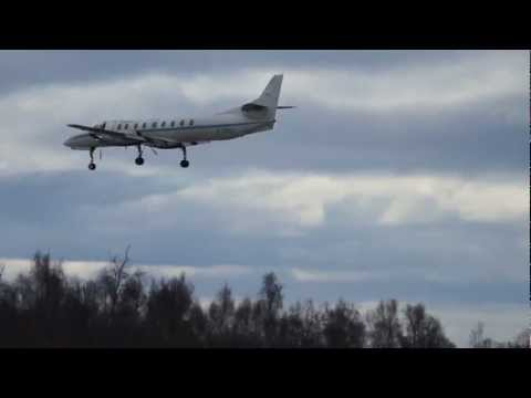 Swearingen SA227 Aircraft, Landing Anchorage Airport, Alaska