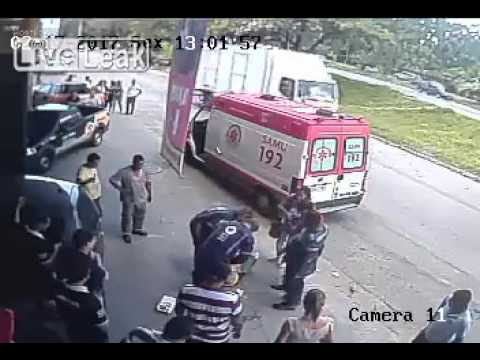 Thumbnail: Tire hits in head of man passing street WTF