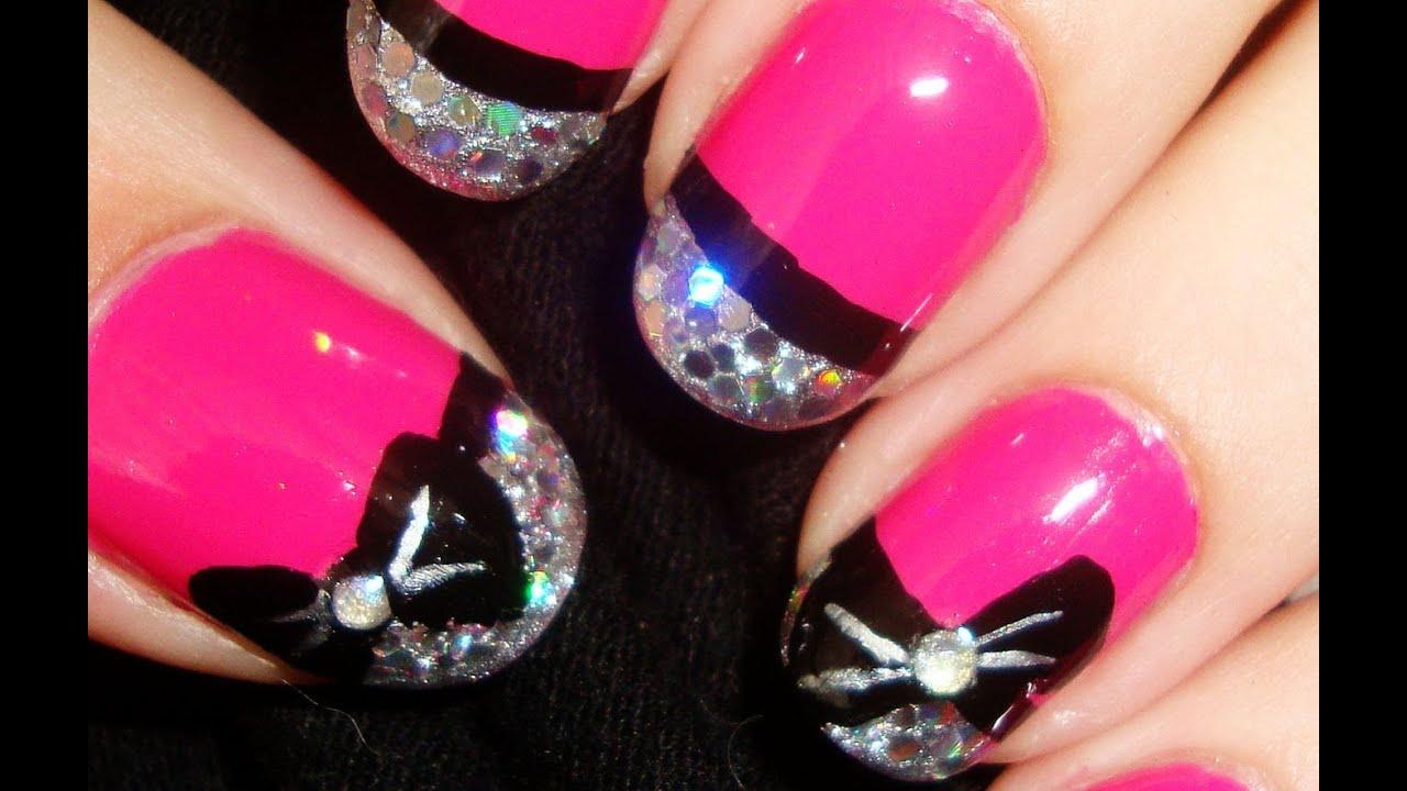 Glitzy Pink Bow Nails - YouTube