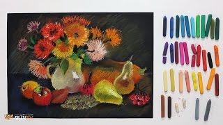"""Курс рисования """"Сухая пастель"""" Начинающие. Урок 5-1. Осенний натюрморт."""