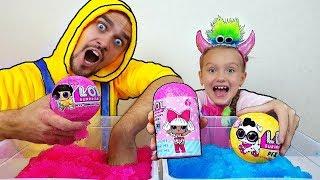 Nastya y papá Diversion con Gelli Baff | unboxing lol surprise | game play con Mi Mi Kids