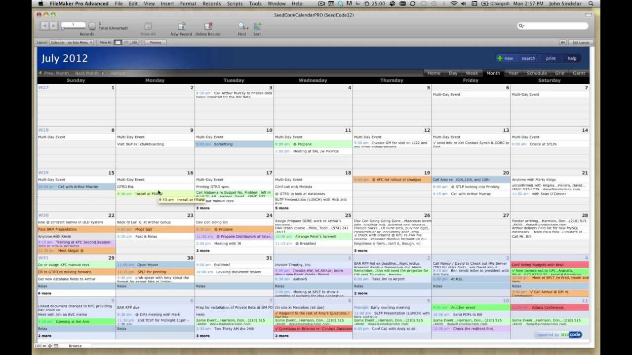 filemaker pro calendar template free - pro calendar template for filemaker 12 youtube